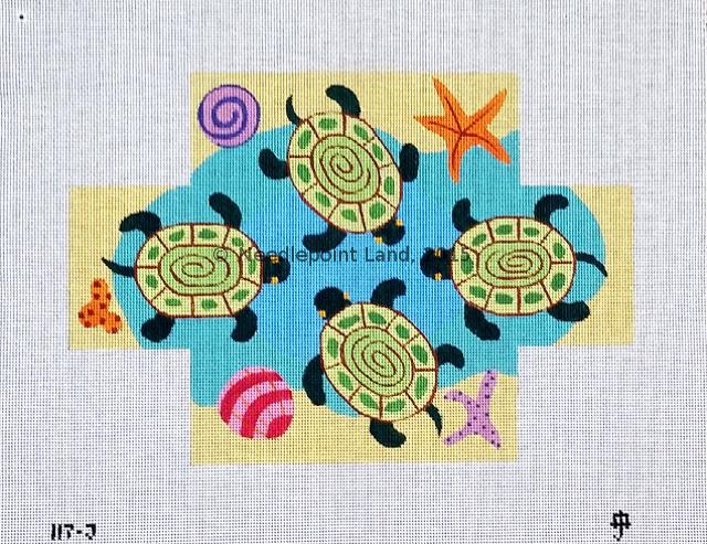 117-J Sea Turtles needlepoint brick cover