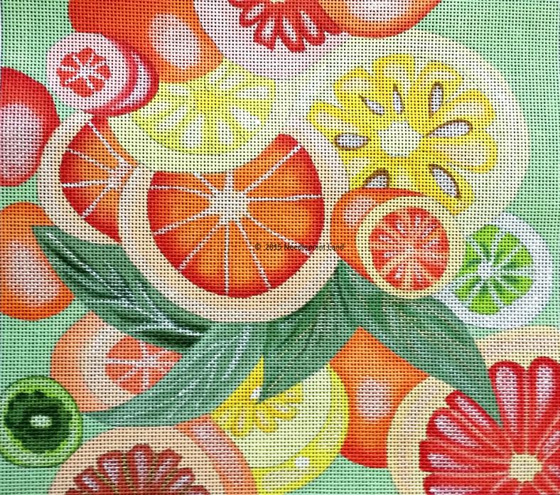 needlepoint citrus grapefruit lemon