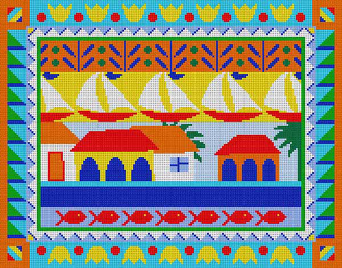 summer boat needlepoint canvas