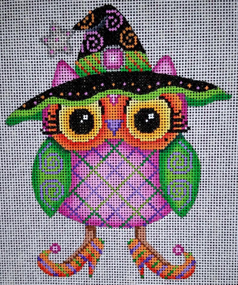 needlepoint owl halloween
