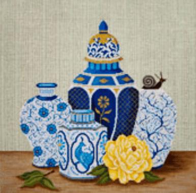 needlepoint oriental vase